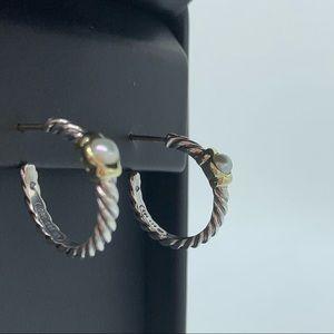 David Yurman Two Tone Pearl Cable Hoop Earrings ✨